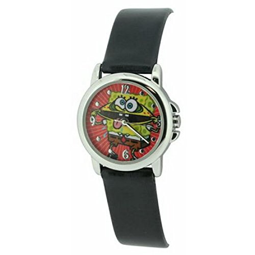 Reloj de Cuarzo Bob Esponja para Niños con Correa Negra