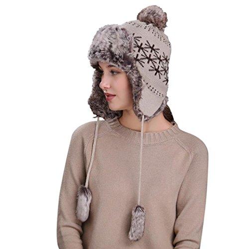 Sombrero De Lana De Punto Grueso Mujer, WinMM Gorro De Esquí De Nieve Caliente Invierno con Orejeras Hat (Beige)
