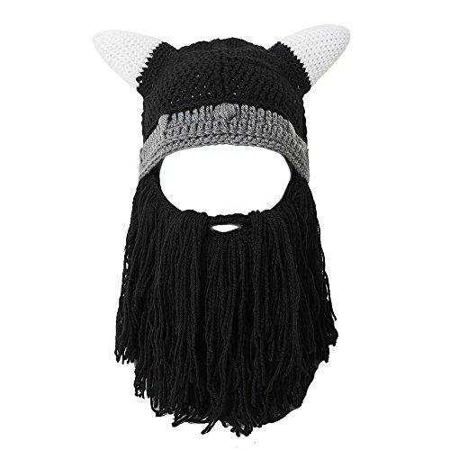 Lantra Besa Viking Wikinger Piraten Cosplay Bartmütze Lustige Strickmütze mit Abnehmbarem Vollbart Maske für Karneval Halloween Geburtstag Party CC0009 - Erwachsene, Schwarzer ()