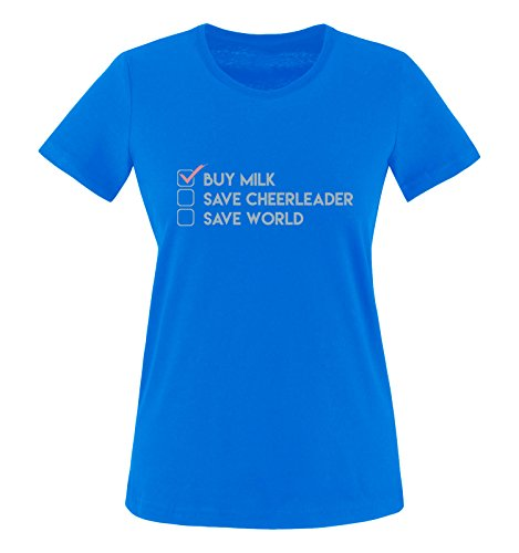 Comedy Shirts - Buy milk, save cheerleader, save world - Heros - Damen T-Shirt - Royalblau / Eisblau-Rosa Gr. M (T-shirt Designs Cheerleader)