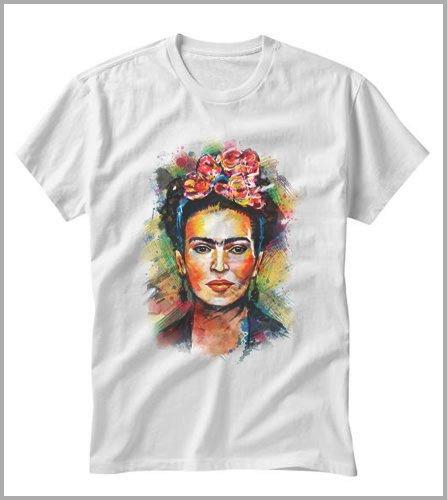 Camiseta unisex de Frida Kahlo, Unisex adulto, Bianco, L donna