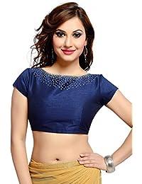 Studio Shringaar Women's Polyester Blouse (Navy Blue)