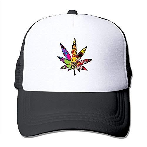 FGHJKL Trippy Multi Pot Weed Leaves Mesh Trucker Caps/Hats Adjustable for Unisex Black -