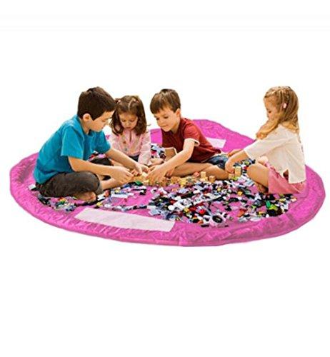 Gioca A Mat Toy Storage Bag Tappetino Per Bambini Tappeto E Tidy Organizer Sack Portatile Per Lego Building Block Pieghevole Clean Up Rug Per La Casa E All'aperto,Pink,150Cm
