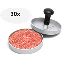 GOURMEO SC-122, GOURMEO Burger Press, made of non-stick coated aluminium, including 30 sheets of wax paper for making homemade burgers | 2 Year Satisfaction Guarantee | patty maker, hamburger presser, burger mold, burger mould, ideal for grilling and BBQ