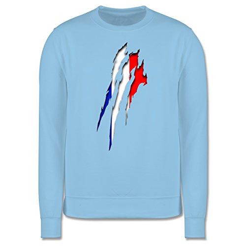Länder - Frankreich Krallenspuren - Herren Premium Pullover Hellblau