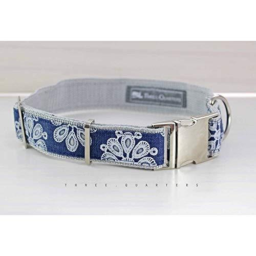 Hundehalsband, Hund, Halsband, Ornamente, Blumen, blau, weiß, hellgrau, dunkelblau, 30mm, silber, elegant, Blüten, Hunde, Welpe, niedlich -