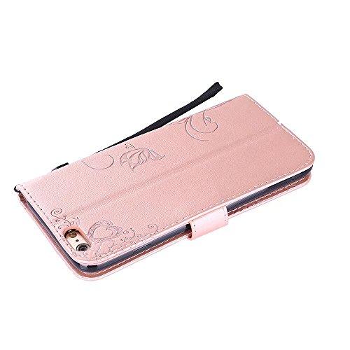 EKINHUI Case Cover Premium PU Leder Folio Stand Case, Solid Farbe prägeartig Blumen Muster Schutzhülle Tasche Tasche mit Lanyard & Card Slots für iPhone 6 Plus & 6s Plus ( Color : Blue ) Rose gold