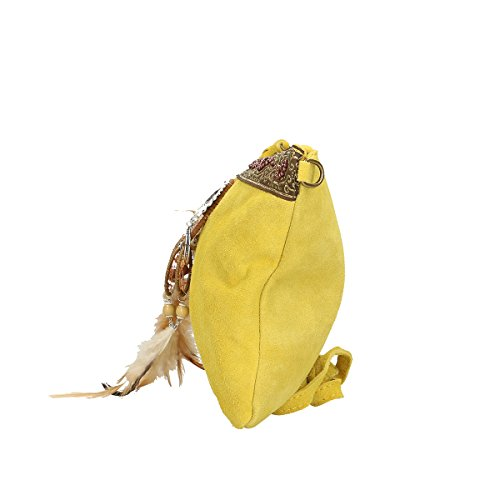 Chicca Borse echtes Leder Schultertasche 30x22x2 Cm Gelb