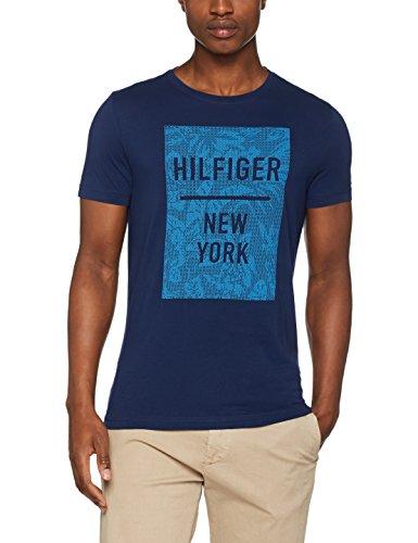 Tommy Hilfiger Baxter C-Nk Tee S/S Rf, T-Shirt Homme Marron (Medieval Blue)
