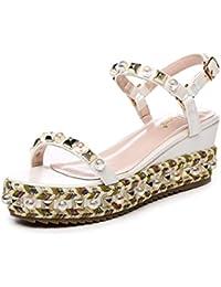 mujer moda Po Xia con sandalias de suela gruesa/Palabra tejer pequeños zapatos