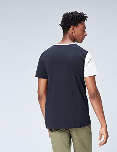 FIND T-Shirt Herren Colour-Blocking und Lockere Passform Mehrfarbig (Navy)