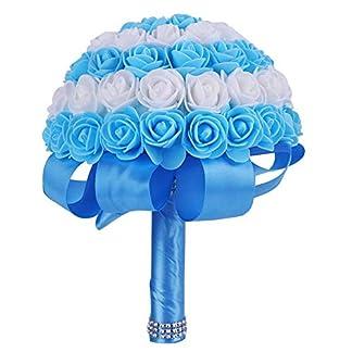 Nupcial de la Boda Ramo de Novia Dama de Honor celebración de Flores Romántico Artificial Rose Fake Posy fotografía Prop(Blue)