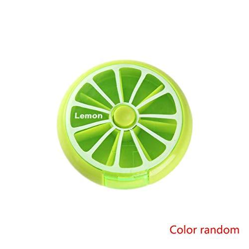 Pegcdu Tragbare Weekly 7-Tage-Frucht-Form-Dreh 7 Slot Tablettenbox Abdeckungs-Fall (Gelegentliche Farbe)