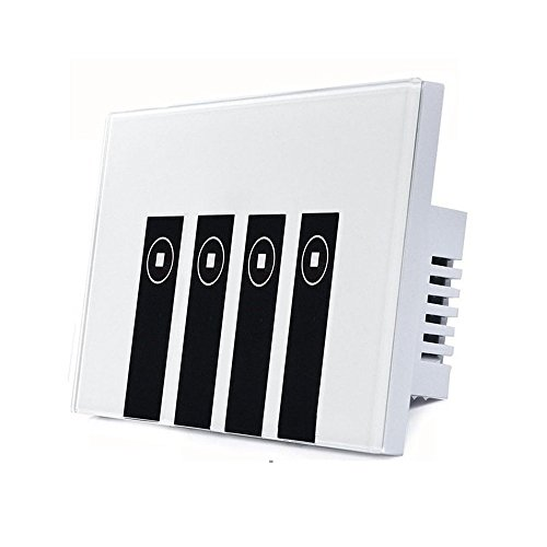 SODIAL Interruttore Smart Light, 4 interruttori Interruttore a piastra wireless touch in-wall compatibile con Amazon Alexa, controllo remoto dei dispositivi da qualsiasi luogo