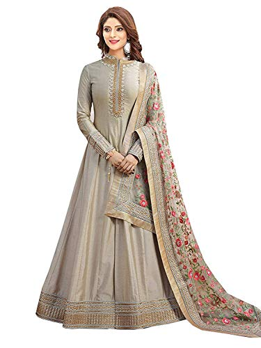 Karma fashion New Grey Semi Stitched Embroidered Heavy Work Anarkali Suits for Women for Party Wedding Wear Anarkali Suits/Salwar Suits