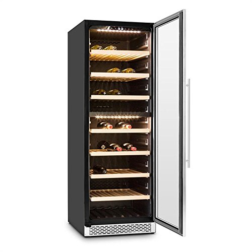 Klarstein Gran Reserva • Wine Cooler • Range of 5 to 20 ° C • Stainless Steel • 2 Cooling Zones • LED • 379 L • Double Insulated Glass Door • 166 Bottles • Control Touch • 7 Shelves • Black-Silver