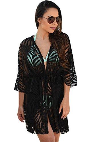 New Schwarz Animal Print Kordelzug Cover-Up Kleid Badeanzug Bademode Sommer tragen Größe UK 8EU 36 (Badeanzug Kordelzug)