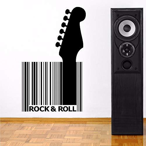 attoos Vinyl Gitarre Barcode Abnehmbare Rock and Roll Stil Wandaufkleber Musik Bar Design Wandbild Vinyl Kunst Ay652 42x69 cm ()