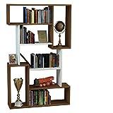 CORGIN Bibliothèque - Blanc / Noyer - Étagère de Rangement - Étagère pour livres - Étagère pour bureau / salon par le design moderne