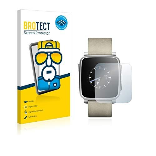 2X BROTECT Flex Full-Cover Bildschirmschutz Schutfolie für Pebble Time Steel (kristallklar, Edge to Edge, Self-Healing, stoßabsorbierend)