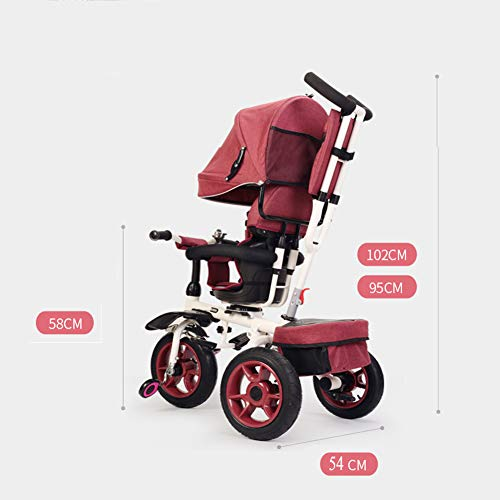 GSDZSY - Foldable Children Tricycle Baby Stroller 4 In1, With Removable Push Handle Bar And Awning, Non-inflatable Rubber Wheel,Safe And Reliable,1-6 Years,B  GSDZSY