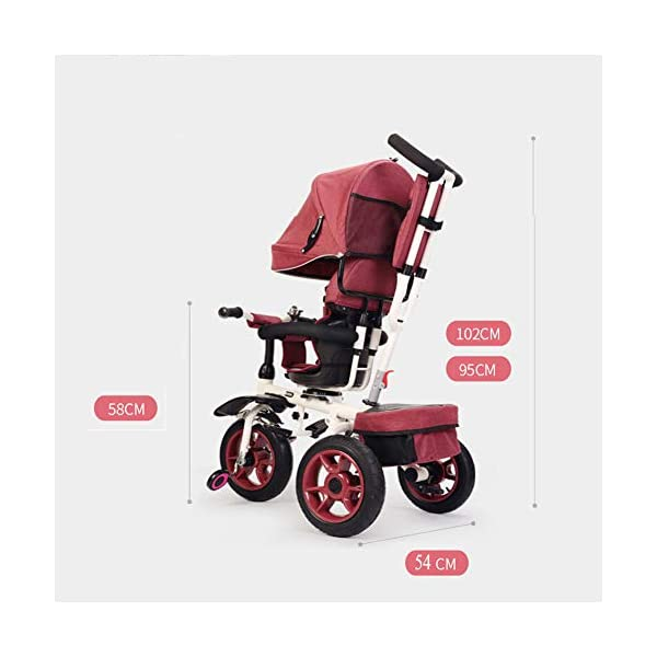 GSDZSY - Foldable Children Tricycle Baby Stroller 4 In1, With Removable Push Handle Bar And Awning, Non-inflatable Rubber Wheel,Safe And Reliable,1-6 Years,B GSDZSY  9