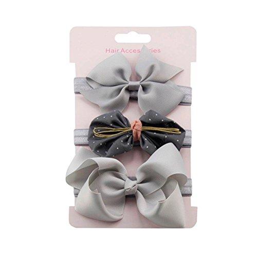 erthome Stirnband, Baby Mädchen Bowknot Haarband Set 3Pcs Kinder elastisches Blumen Stirnband Haarband (Grau) - Carters Baby Girls Kleid
