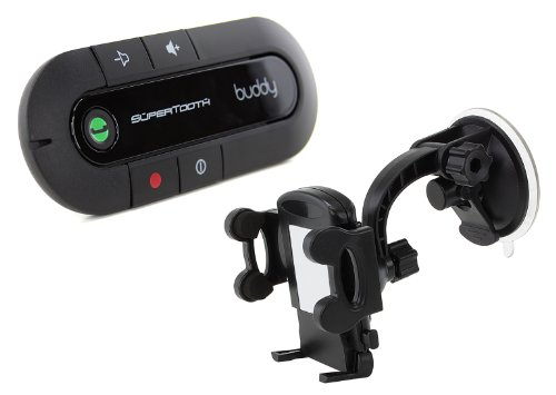 SuperTooth Buddy 2.1 Kit Mains Libres + Support Universel Voiture Compatible avec iPhone 3G/3GS/4/4S/5/5S/5C/6/6 Plus/6/6 Plus and Samsung Galaxy S3/S4 - Noir