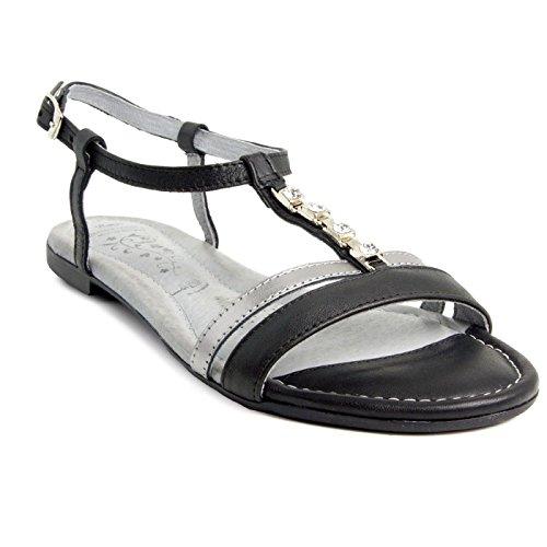 Batz Fresh 43 Sandales Chaussure en Cuir de Qualité Supérieure Femme Eté Noir