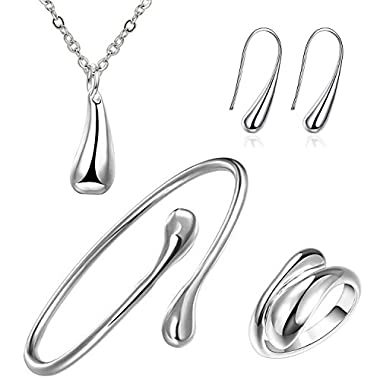 SavingMart 925 Sterling Silver Plated Teardrop Earrings Pendant Bracelet Ring Necklace 4pcs Jewelry Set