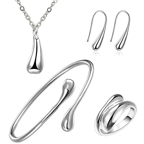 - 414H90yC00L - SavingMart 925 Sterling Silver Plated Teardrop Earrings Pendant Bracelet Ring Necklace 4pcs Jewelry Set  - 414H90yC00L - Deal Bags