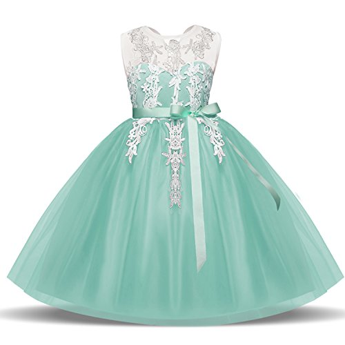 NNJXD Mädchen ärmellose Spitze Stickerei Chiffon Prinzessin Festzug Kleid Größe (100) 2-3 Jahre...