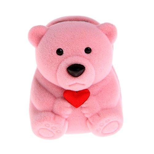 Mini-Geschenkboxen für Ringe und kleine Ohrringe, Bären-Anhänger rose -