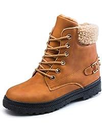 Minetom Donna Inverno Stivali da Neve Rivetto Stringate Scarpe Snow Boots  Caviglia Caldo Felpa Peluche Stivaletti e6259405c25