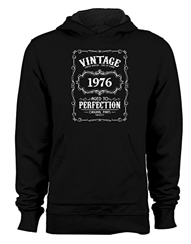 Felpa con cappuccio Vintage Limited Edition 1976- Age to perfection- idee regalo- compleanno- - Tutte le taglie Nero