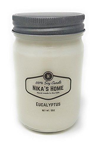 Eukalyptus-home-kerze (NIKA 's Home Eukalyptus Soja Kerze-12Unzen Mason Jar)