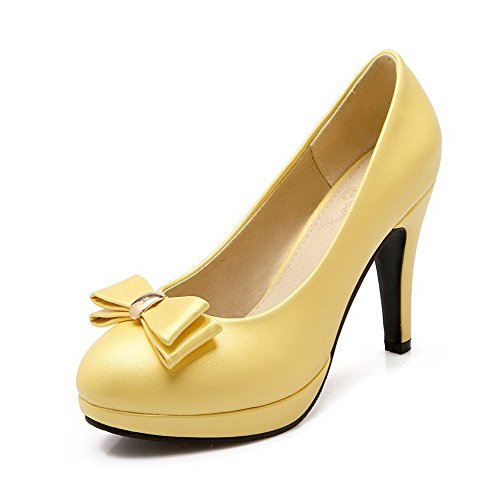 voguezone009-womens-pu-solid-pull-on-round-closed-toe-high-heels-pumps-shoes-yellow-41