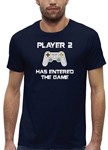 Geek Nerd Gamer Premium Bio Baumwoll Herren Männer T-Shirt Stanley Stella Player 2 Has Entered The Game, Größe: S,Navy (T-shirts Baby Stella)