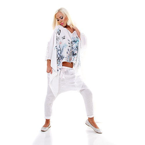 5 Peoples Damen Bluse Tunika oversized FLOWERS Weiß Türkis