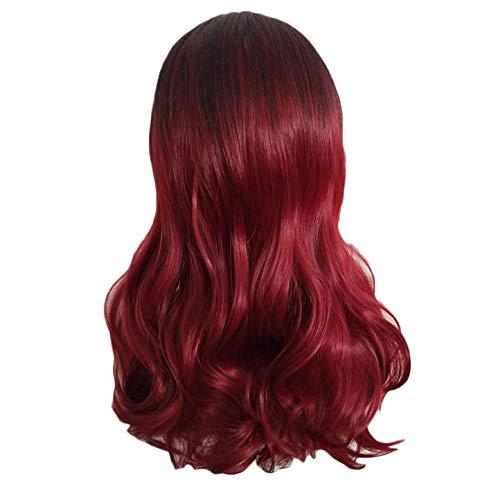 Perruque Femme naturelle, feiXIANG femmes haute qualité dégradé rouge Perruque Cheveux ondulés Extensions de cheveux courte Complète bouclé ondulé Chaleur resistant Synthetique