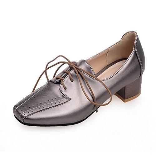 VogueZone009 Femme Pu Cuir à Talon Bas Carré Couleur Unie Lacet Chaussures Légeres Gris