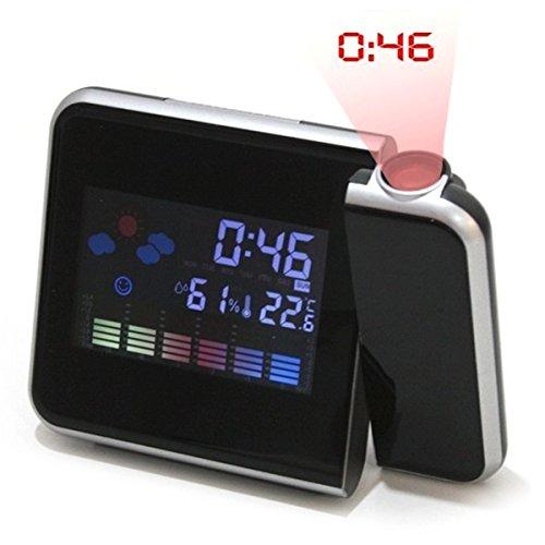 Projektionswecker Uhr Schreibtischuhr Reise-Wecker mit LED Display Alarm Zeit Datum Kalender Temperatur Luft-Feuchtigkeit Anzeige Projektion Projektor