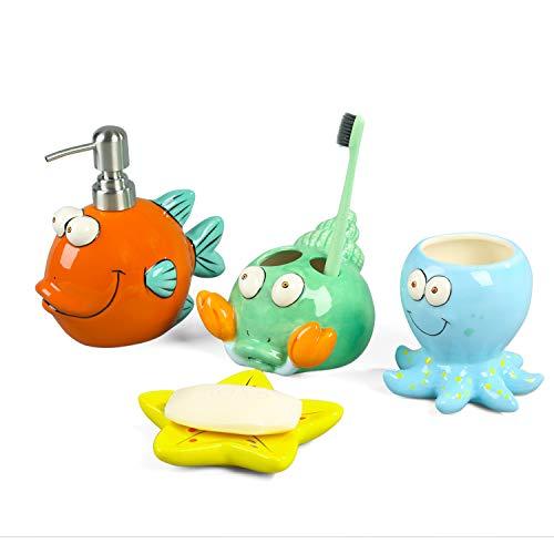 PEHOST Finding Nemo Ceramica Accesorios de baño Set para niños 4: 1 jabonera, 1 dispensador de jabón 1 Cepillo de Dientes Titular & 1 Vaso