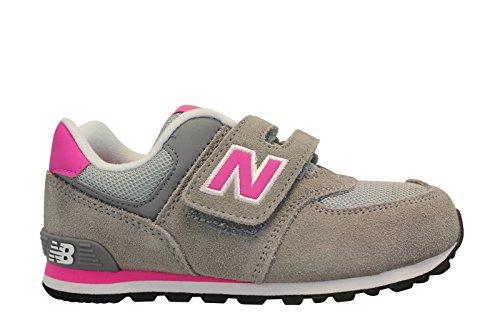 NEW BALANCE - Chaussure de sport grise et fuchsia, en suède et tissu, avec velcro, avec logo latéral et à l'arrière, coutures visibles et semelle en caoutchouc, fille, filles