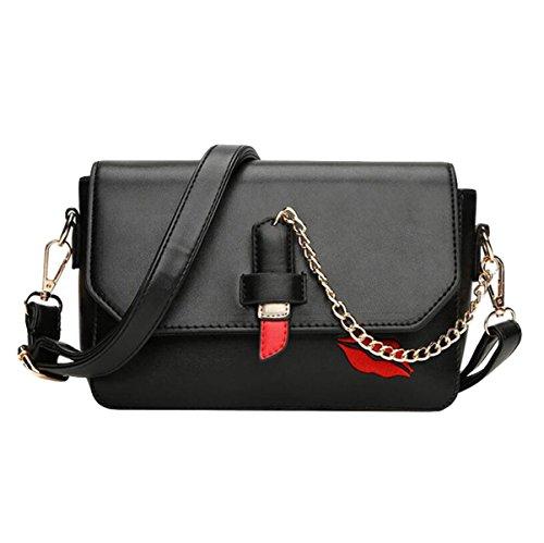 Handtaschen Umhängetasche Kuriertasche Rote Lippen Gedruckte Paket Kleine Quadratische Paket Einfache Wilde Freizeit Mode Black