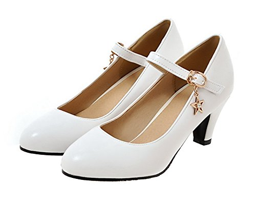 AgeeMi Shoes Donna Tacco Medio Luccichio Fibbia Punta Tonda Ballet-Flats Bianco
