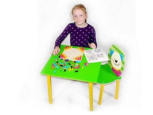 Hess Jouet en bois 30205 – Table pour enfants en bois, vert, env. 50 x 50 x 42 cm