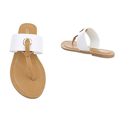 Ital-Design Chaussures Femme Sandales Bloc Havaianas Tongs FitFlop Blanc