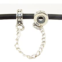 Andante-Stones - original, cuenta de plata de ley 925 sólida, cadenita de seguridad, elemento separador, elemento bola para pulseras modulares European Beads + saco de organza
